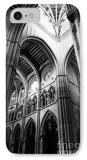 black-and-white-almudena-cathedral-interior-phone-case