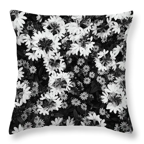 Black and white floral texture throw pillow