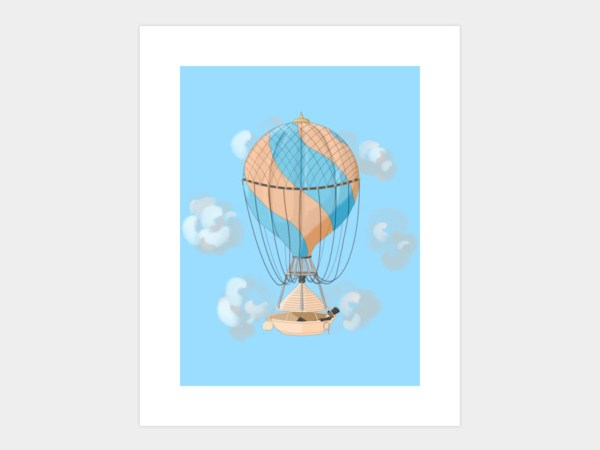 Vintage hot air balloon illustration print