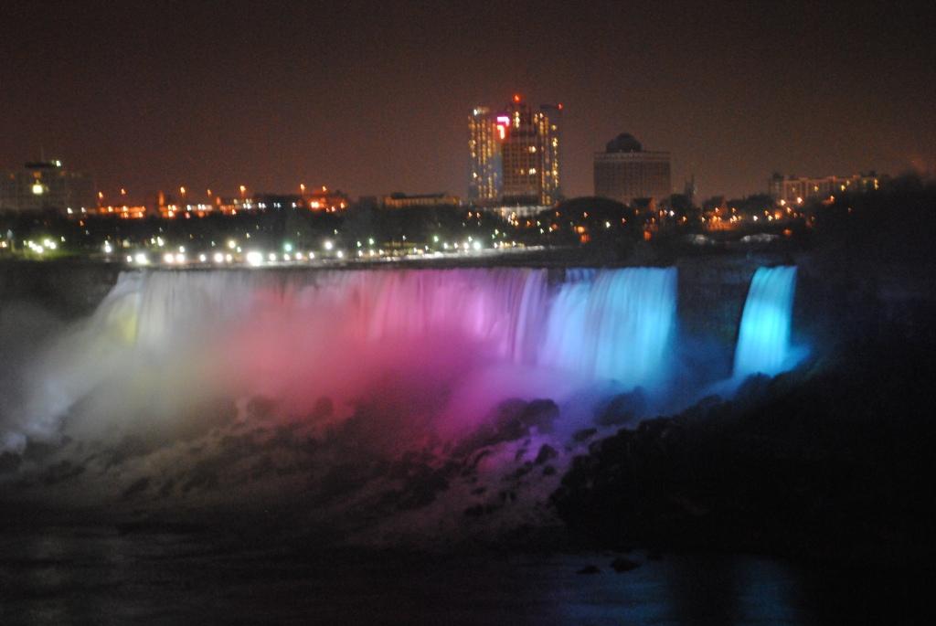 American falls and Bridal Veil falls - Night view