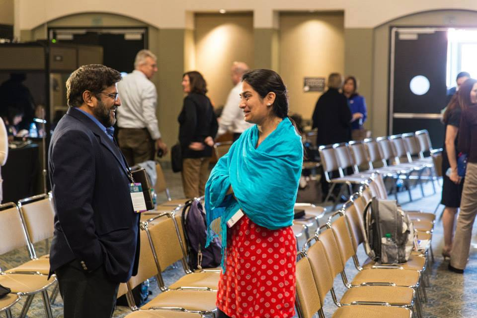 Victor Vaz and Padmini talking at SOWG, Los Angeles