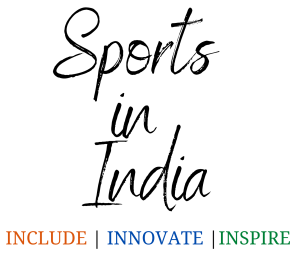 Sports in India, Include, Innovate and Inspire written in Indian flag colors over white background