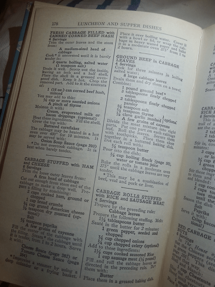 A page from The Joy of Cooking Cookbook, 1943 - 1946 Edition