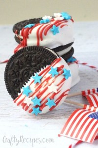Dipped Oreo Flag Cookies