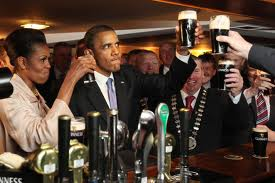 Obama with a pint