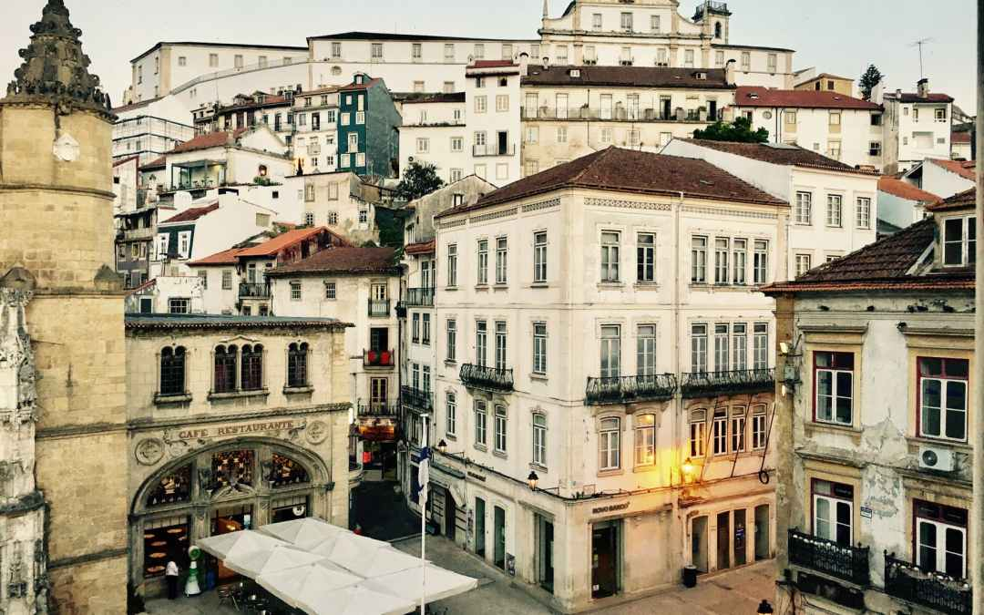 historic district of beautiful city with aged buildings and monastery