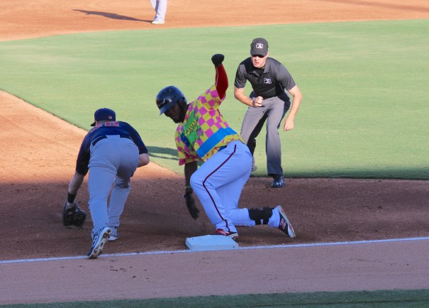 Lake Elsinore Storm Double Dare Night ... Edwin Moreno slides safely into Third Base