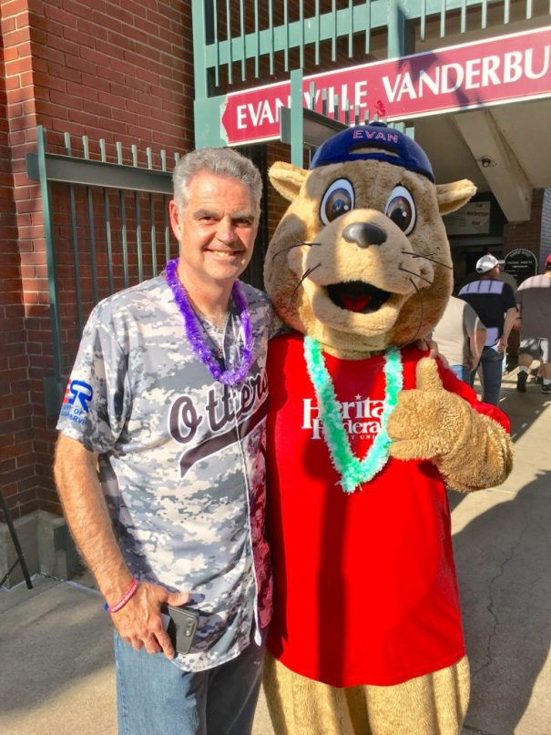 Wayne McBrayer with Evan the Evansville Otter