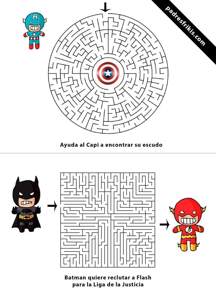 Laberintos para niños de Superhéroes Marvel y DC