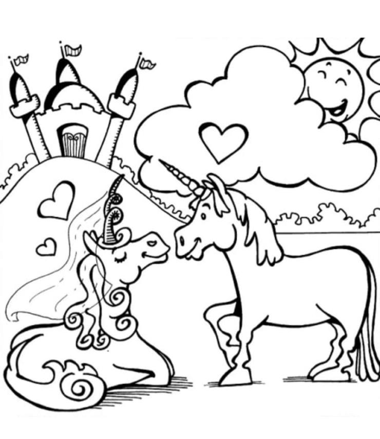 dibujo unicornio y castillo