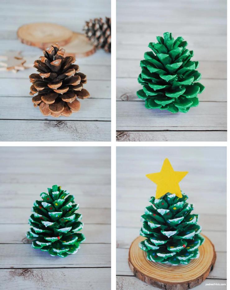 manualidad de navidad infantil, el árbol de piña
