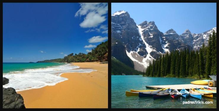 vacaciones playa o montaña