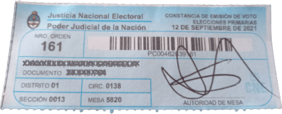 Troquel comprobante voto
