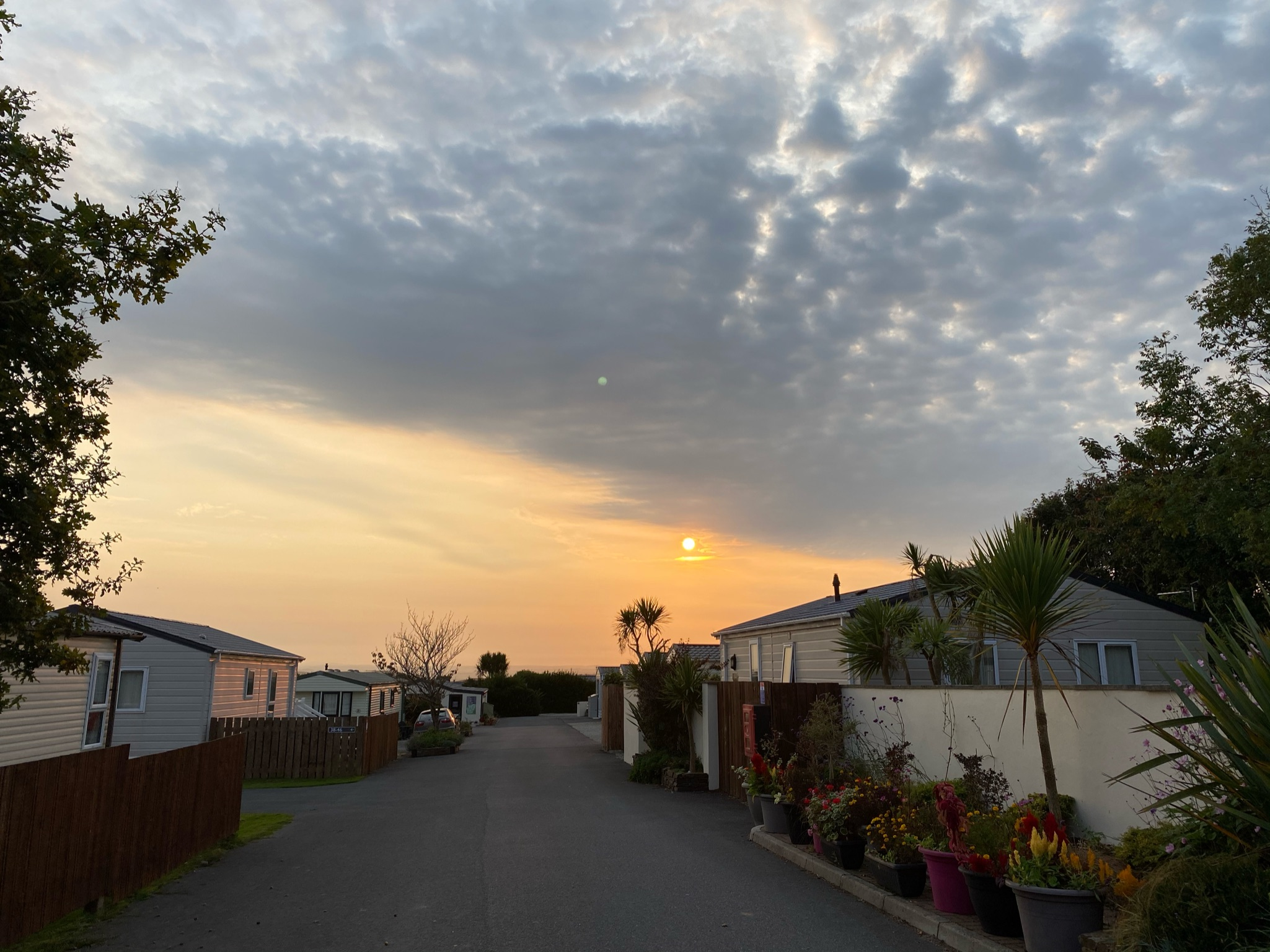 The Rereats Padstow HOliday Park Sunset across the park