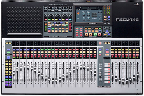 PreSonus StudioLive 64S top view. Click for larger image.
