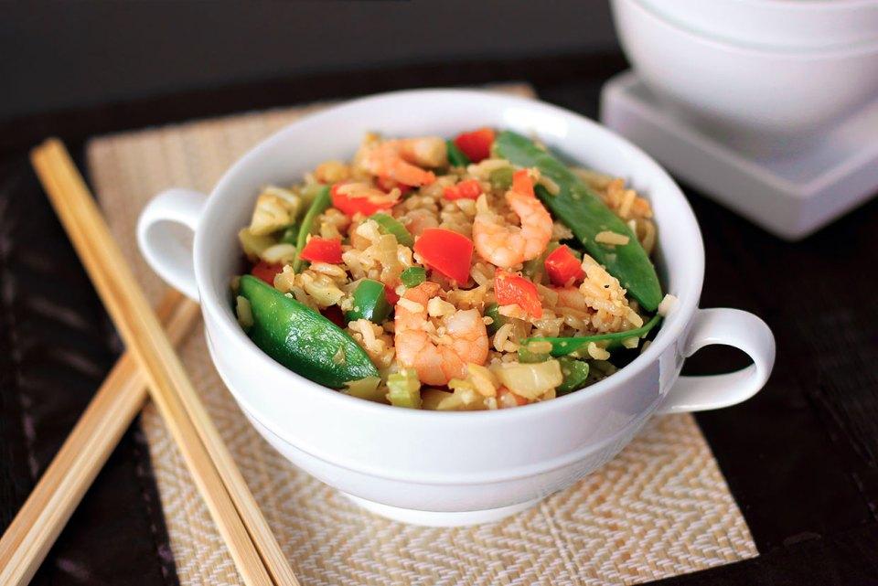 креветки с рисом и овощами