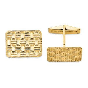 14 kt. yellow gold, 14 mm X 19 mm rectangular shaped, cuff links with a basket weave design and a polish finish.