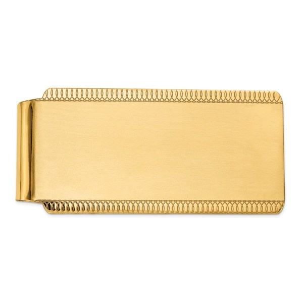 14 kt. yellow gold, 55 mm X 26 mm, rectangular, key chain, accented with scrolling designs on the top and bottom. and with a satin polish finish