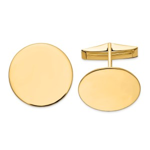 14 kt. yellow gold, 20 mm round, cuff links with a polish finish.