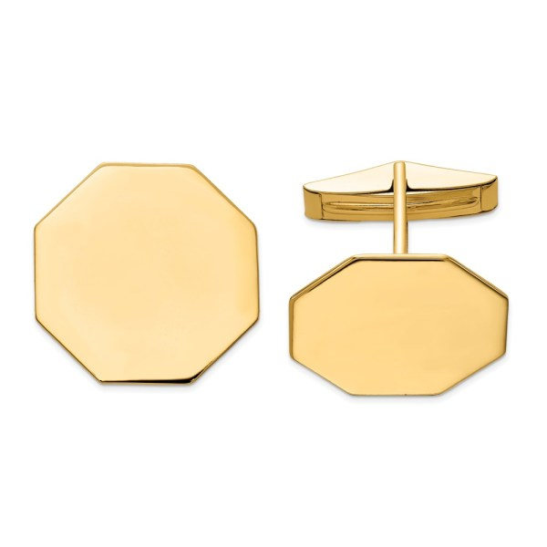 14 kt. yellow gold, 20 mm X 20 mm octagon shaped, cuff links with a polish finish.