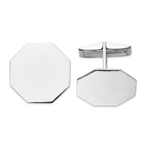 14 kt. white gold, rhodium plated, 20 mm X 20 mm octagon shaped, cuff links with a polish finish.
