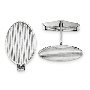 Sterling Silver, Rhodium-plated, 25 mm X 16 mm oval, grooved cuff links with a polish finish.