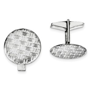Sterling Silver, rhodium plated, 20 mm round, cuff links with a basket weave design and a polish finish.