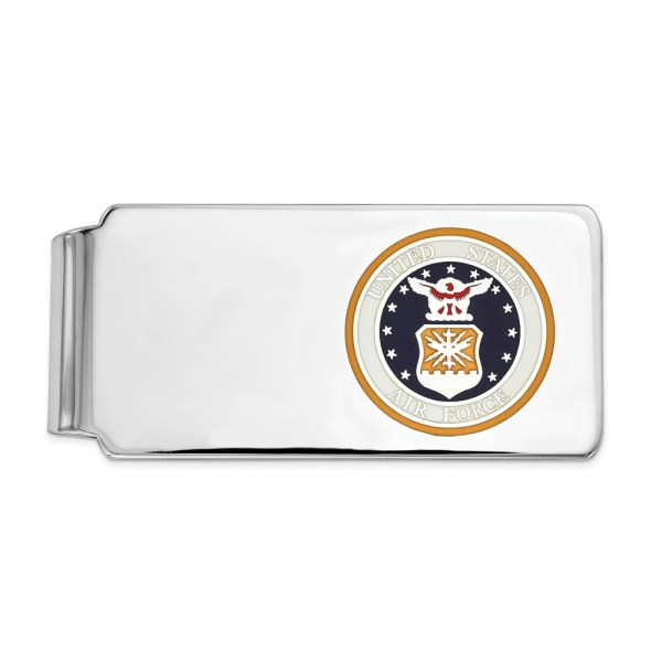 Sterling Silver, rhodium-plated, 52 mm X 20 mm, rectangular money clip with an enameled U.S. Air Force symbol with the gold background and with a polished finish.