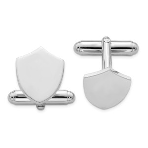 Sterling Silver, rhodium plated, 17 mm X 13 mm, shield cuff links with a polish finish