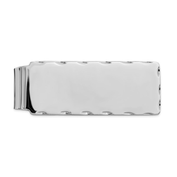 Sterling Silver, rhodium-plated, 51 mm X 20 mm, rectangular money clip with diamond cut edges and a polished finish.