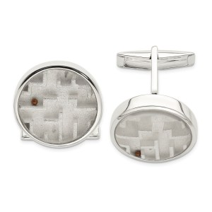 Sterling Silver, casted, diestruck, maze with copper bead cuff links with a polish finish.