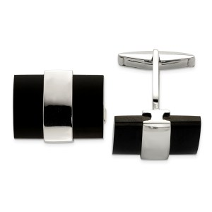 Sterling Silver and black onyx, square cuff links with a polish finish.