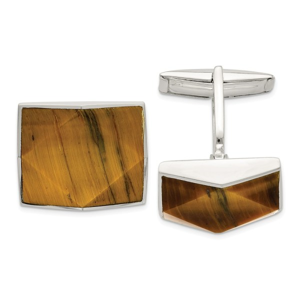 Sterling Silver with an inlay of brown Tiger's Eye, triangular shaped, cuff links with a polish finish.