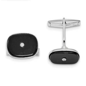 Sterling Silver, rhodium plated, bezel set with Black Agate and cubic zirconium cuff links with a polish finish.