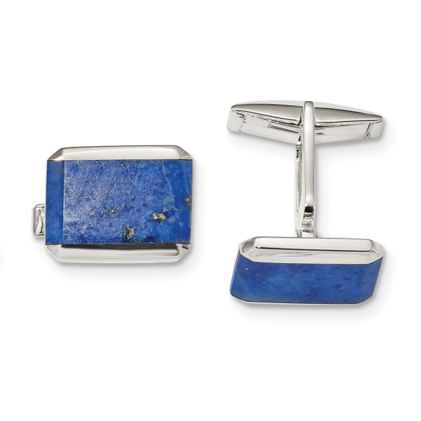 Sterling Silver, rectangle shaped with an inlay of blue Lapis cuff links with polish finish.