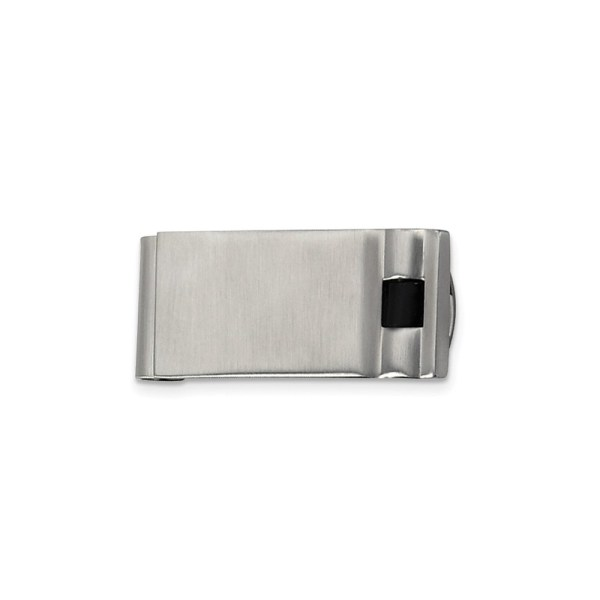 Stainless Steel, 41 mm X 20 mm, rectangular money clip, accented by an inlay of black enamel and with a brushed and polished finish