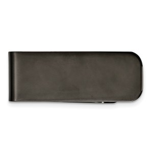 Stainless Steel, black IP-Plated, 47 mm X 17 mm, rectangular money clip with a polished finish