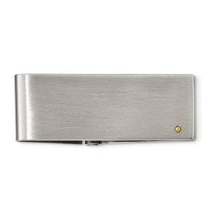 Stainless Steel, 53 mm X 22 mm, rectangular, hinged, money clip with a yellow IP-plated screw accent and with a brushed and polished finish