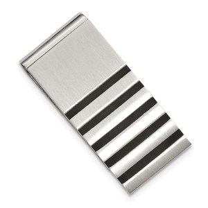 Stainless Steel, 44 mm X 22 mm, rectangular money clip with five vertical rubber accents and with a brushed and polished finish