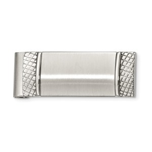 Stainless Steel, 47 mm X 20 mm, rectangular money clip accented on each end with a checkered pattern and with a brushed and polished finish