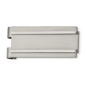 Stainless Steel, 47 mm X 22 mm, rectangular money clip accented by two horizontal flat, stepped lines and with a brushed and polished finish