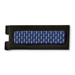 Stainless Steel, black IP-plated, rectangular with flat edges, money clip accented with an inlay of blue carbon fiber and with a polished finish.