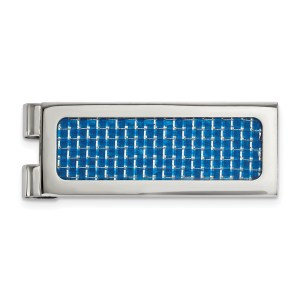 Stainless Steel, 54.3 mm X 20 mm, rectangular with flat edges, money clip accented with an inlay of blue carbon fiber and with a polished finish.