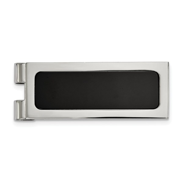 Stainless Steel, 54.55 mm X 20 mm, rectangular money clip with flat edges, accented with an inlay of black agate and with a polished finish.