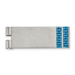 Stainless Steel, 56.95 mm X 19 mm, rectangular with flat edges, money clip, accented with two vertical inlays of blue carbon fiber and with a brushed finish