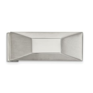 Stainless Steel, 50.36 mm X 19 mm, rectangular pyramid with a flat top, money clip with a brushed and polished finish