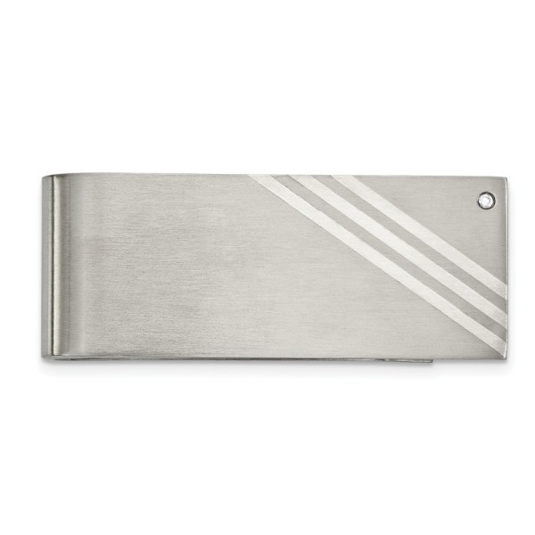 Stainless Steel , 63.56 mm X 25 mm, rectangular money clip accented with three diagonal stripes inlays of sterling silver and with a bezel set, round, cubic zirconia and with a brushed finish.