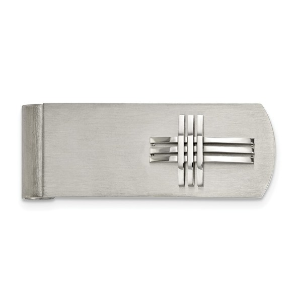 Stainless Steel, 59.02 mm X 19 mm, rectangular money clip accented with a raised, three barred cross and with a brushed and polished finish.