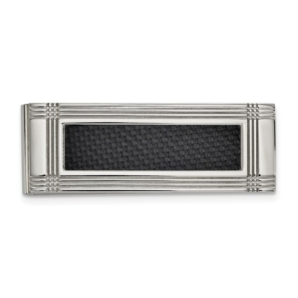 Stainless Steel, 56.53 mm X 20 mm, rectangular money clip accented by a framed, center inlay of black carbon fiber and with a polished finish.