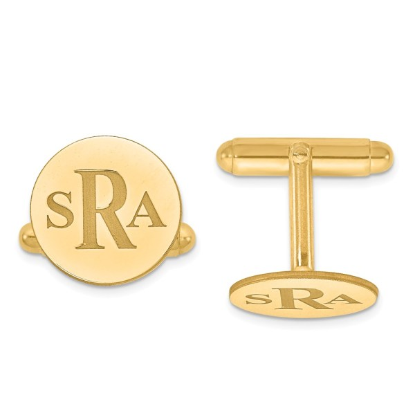 Gold plated over sterling silver , 16 mm round, with laser recessed letters monogram, cuff links with a polish finish.